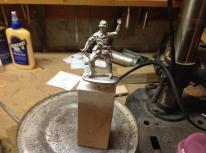 glue figure to painting block