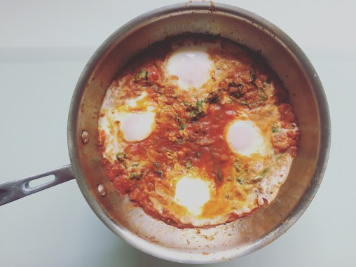 finished pan of shakshuka