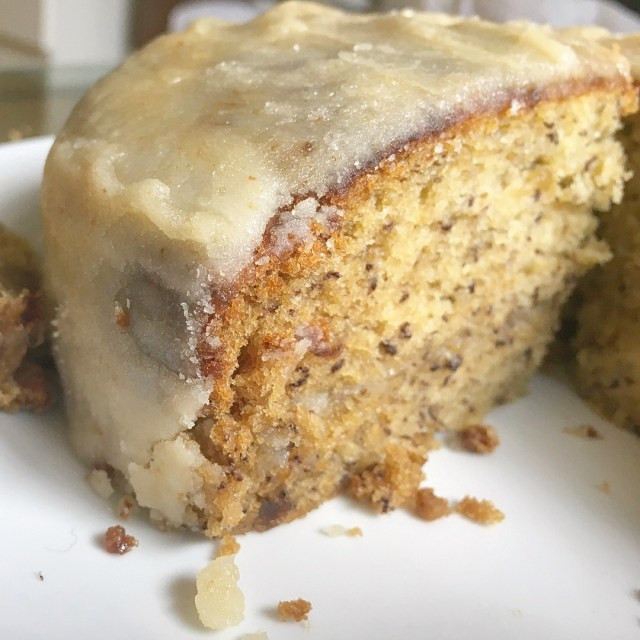 banana cake with penuche frosting, side view