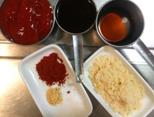ingredients for smoked paprika and sherry vinegar BBQ sauce