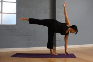 Benefits of Ardha Chandrasana – Half Moon at the wall: great hip opener and balancing for the uterus, as the ligaments get a rest one side at a time. Rest your palms with a block onto the mat for extra support, as needed.