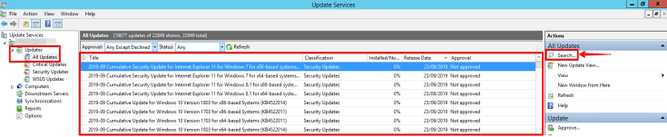 11 - Windows Server Update Services - All Updates - Search