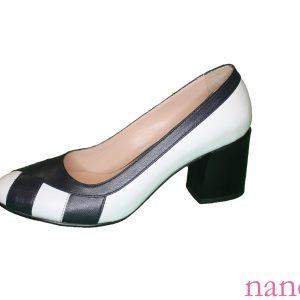 İki renkli kare topuklu toptan deri ayakkabı, double color square heel leather shoes, двухцветные кожаные туфли на квадратном каблуке,