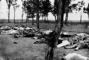 "Henry Morgenthau, Sr., then U. S. Ambassador to the Ottoman Empire, wrote on the back of this photograph: ""Scenes like this were common all over the Armenian provinces, in the spring and summer months of 1915. Death in its several forms -- massacre, starvation, exhaustion -- destroyed the largest part of the refugees. The Turkish policy was that of extermination under the guise of deportation."""