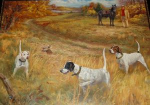 "This painting by Nashville artist Helen Nash is titled ""Training Day at Cotton Plant."" It hung for several years at the national bird dog museum in Grand Junction, TN before coming to Patterson Pointe Lodge. The dogs are, left to right, Fiddlers Pride Iris, Crude Rooster Vail, and Bad Jazz. Patterson is in the upper right corner with his horse Banjo."