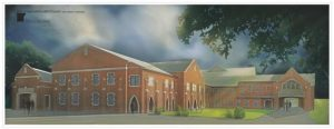 Architect's illustration of how the back of the First United Methodist Church of New Albany will look when work is complete in time for Christmas 2016.