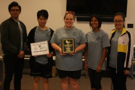 Aquatic Ecology First Place: Left to Right: Isaac Estrada, Michelle Luo, Lindsay Sappington, Yesenia Rivera and Ke Xin Weng. Photo by Kathy Dougan, MSWCC