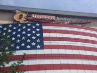 Red white and blue adorns the Q.