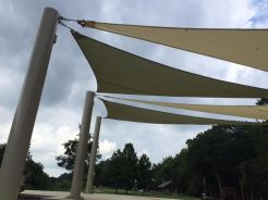"""The Riverview Stage """"sails"""" are made of a highly-engineered fabric with a 20-year warranty."""
