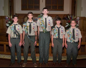Court of Honor ceremony at First United Methodist Church honored new Eagle Scouts, L-R: Luke Bolen, Eli Parks, Tucker Shannon, John Davis, Lewis Creekmore