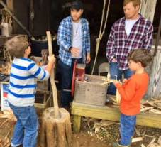 shucking and grinding corn