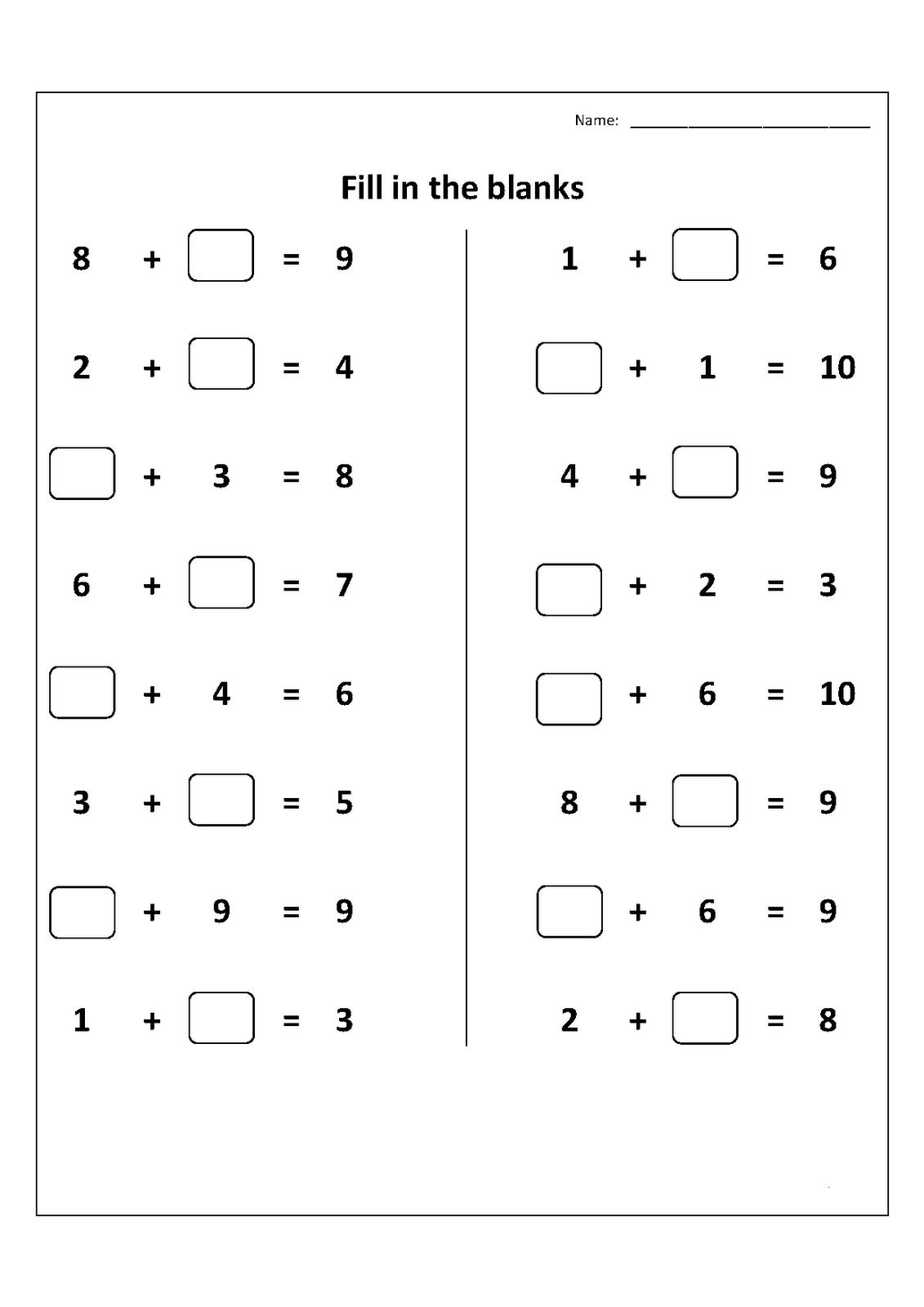 Elementary Math Worksheets 1st Grade