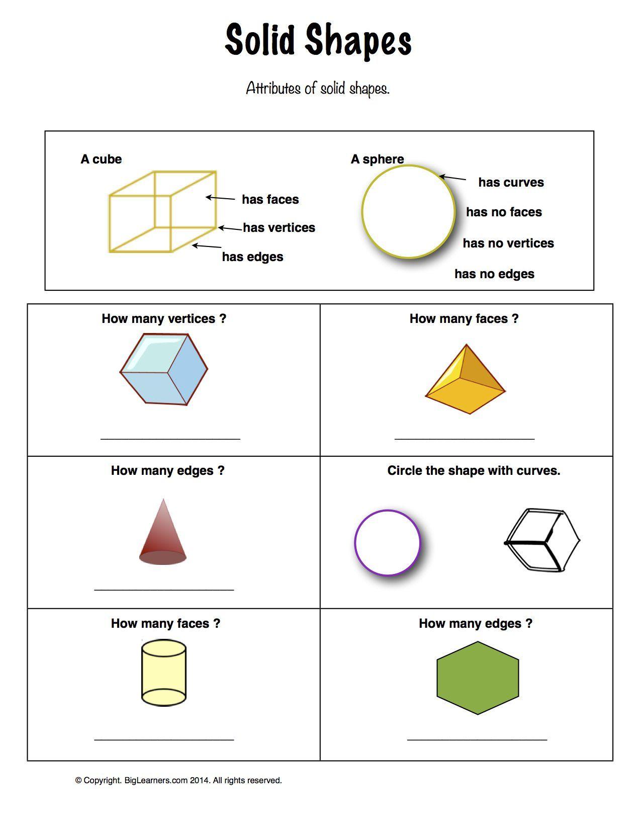17 Best Shapes Math Worksheets 1st Grade Images On Best