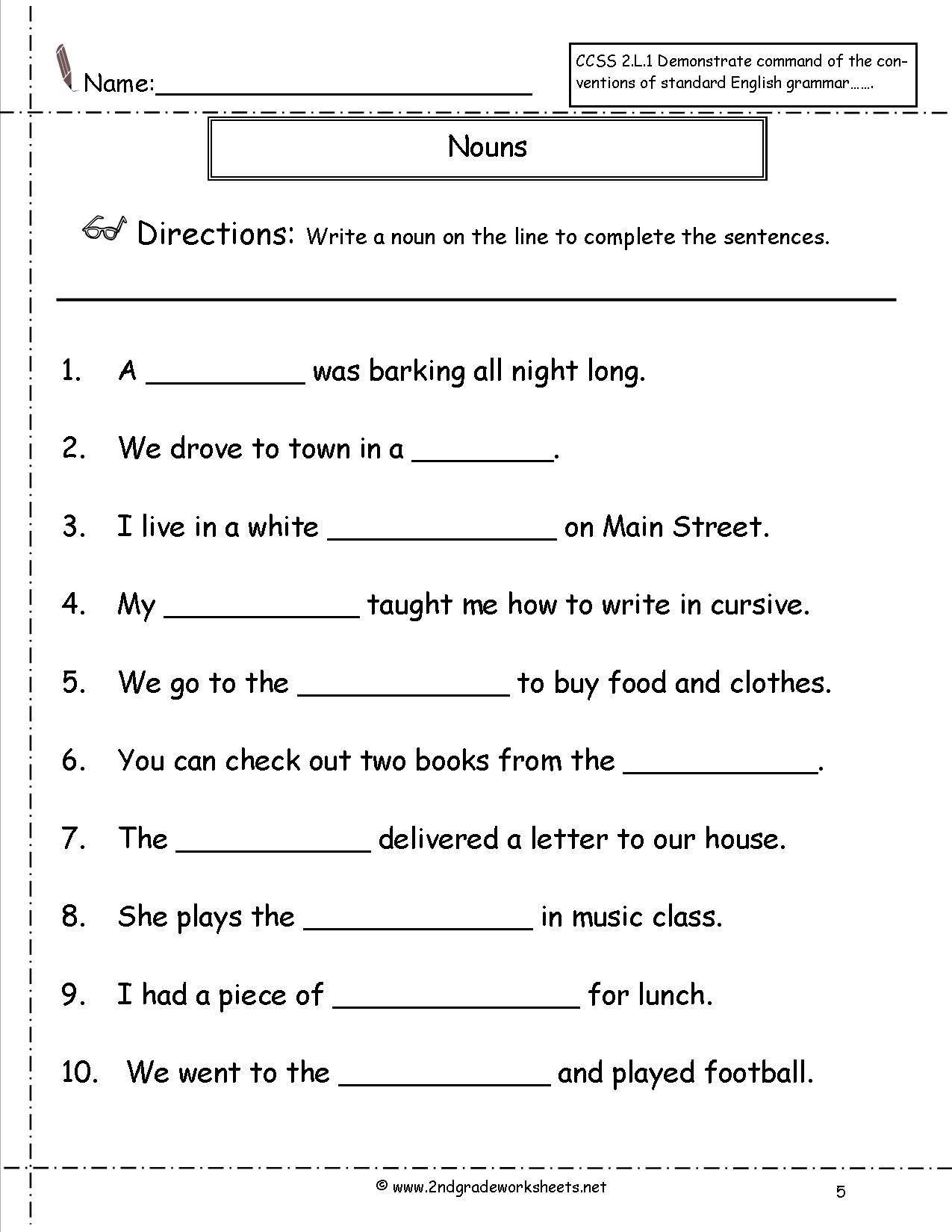 10 Best First Grade Grammar Worksheets Nouns Images On
