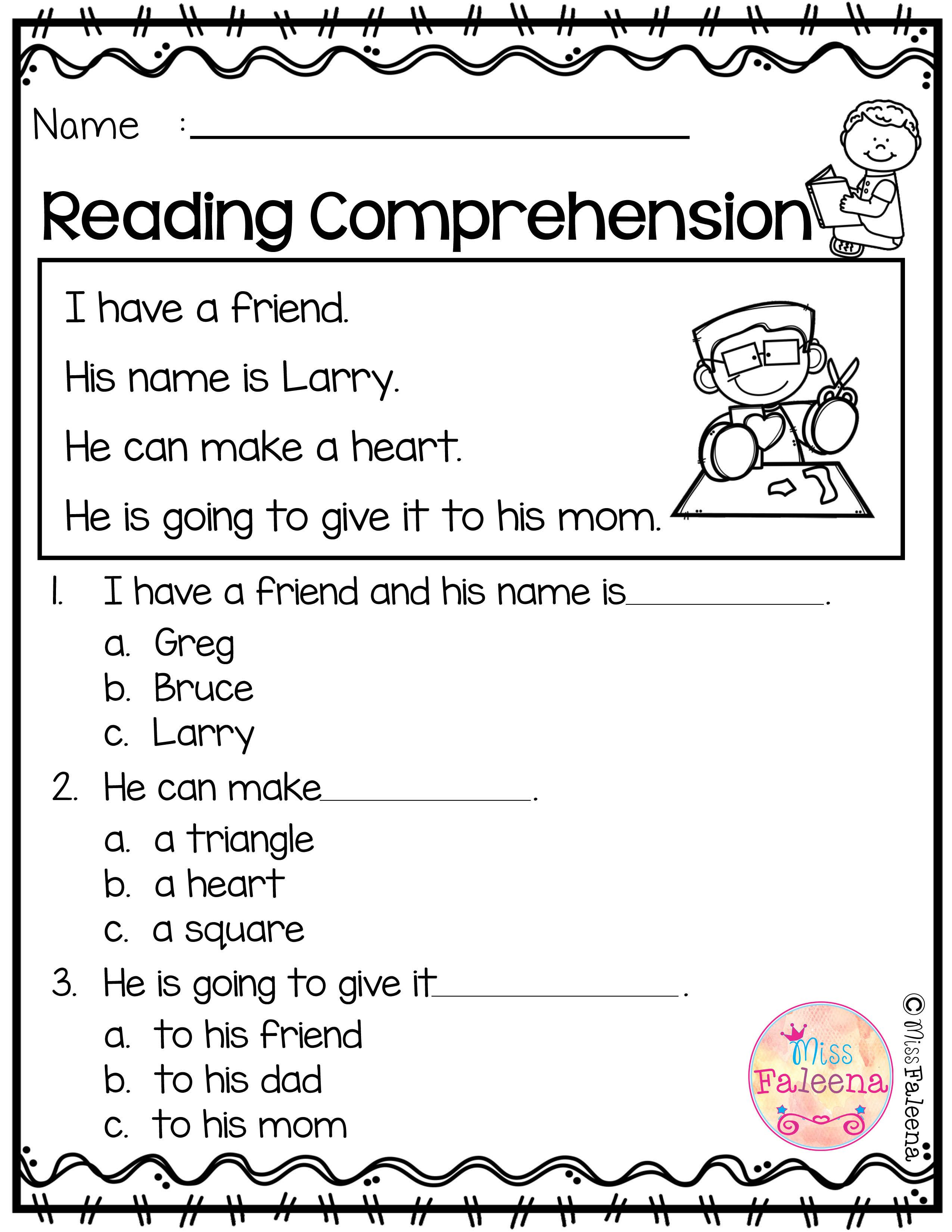 - Reading Comprehension Worksheets Grade K Printable Worksheets