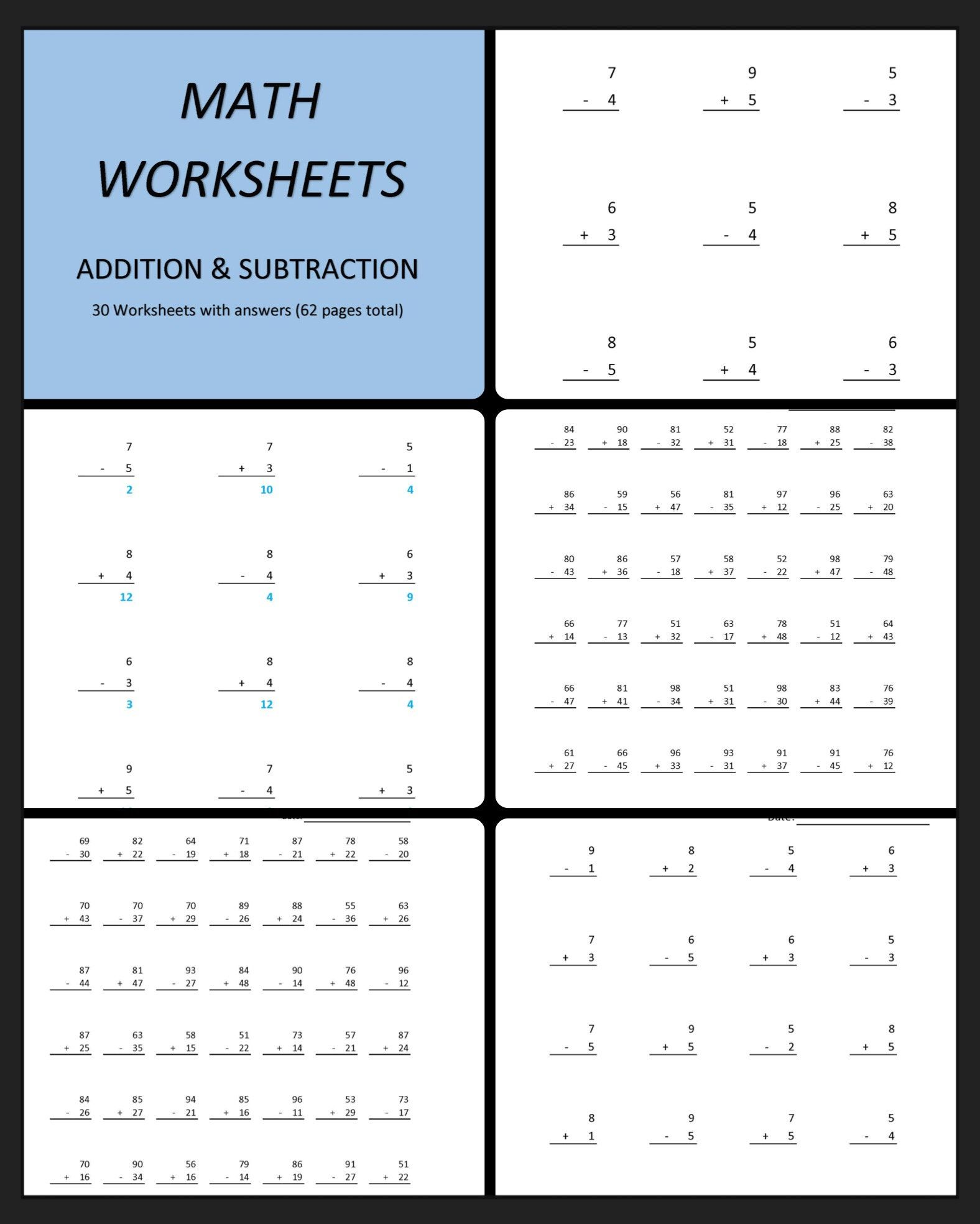 Addition Amp Subtraction 60 Printable Worksheets With