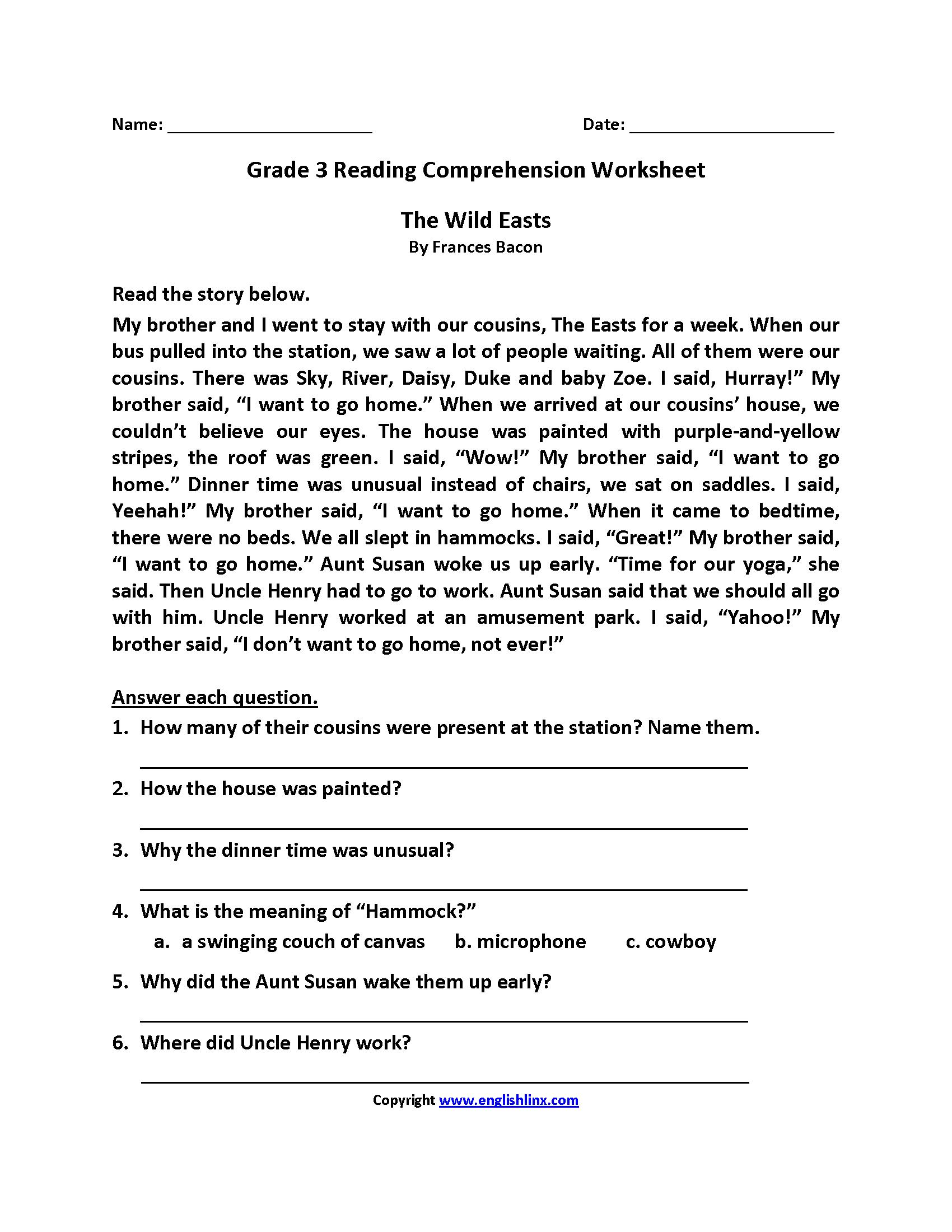11 Best Reading Comprehension Worksheets Grade 3 Images On
