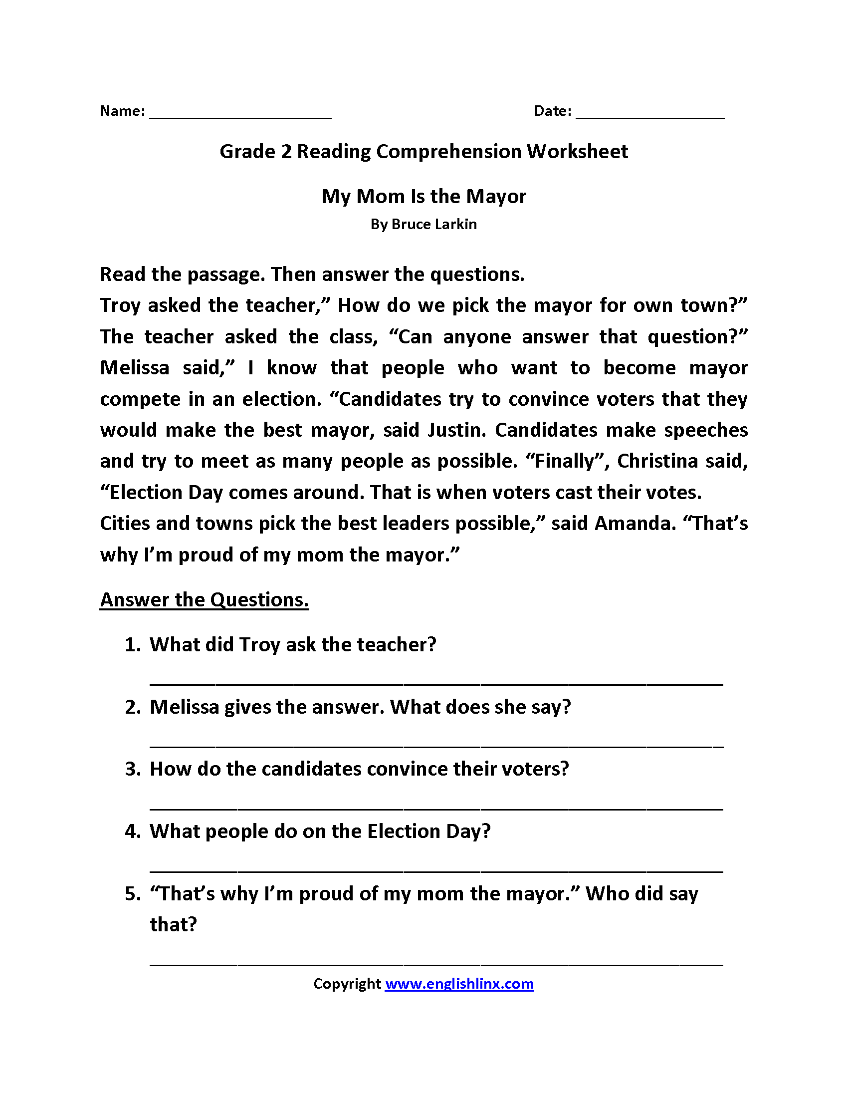 11 Best Reading Comprehension Worksheets Grade 5 Images On