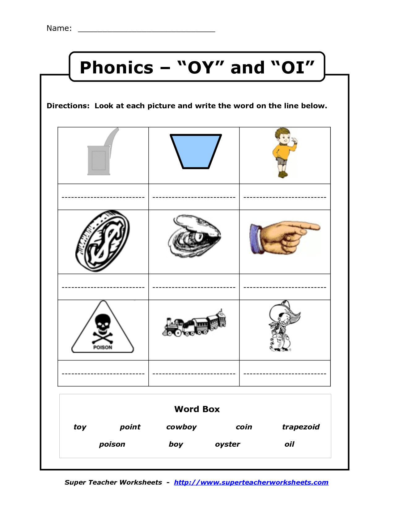 Oy And Oi Phonics Worksheets