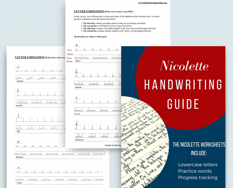 Nicolette Handwriting Practice Sheets Lowercase Practice