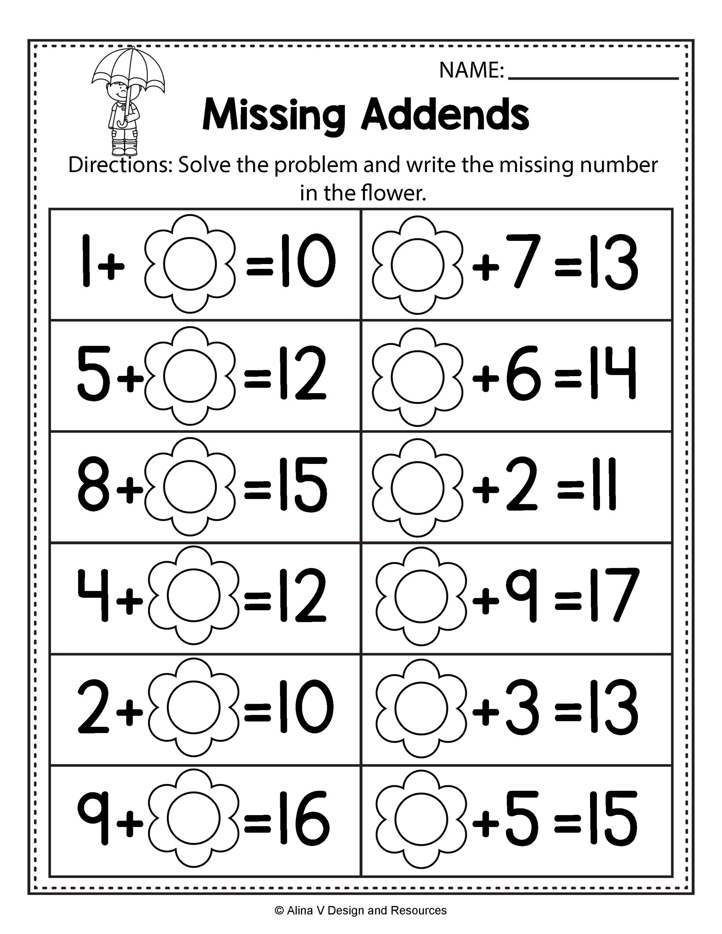 Free Spring Math Worksheets For Kindergarten No Prep
