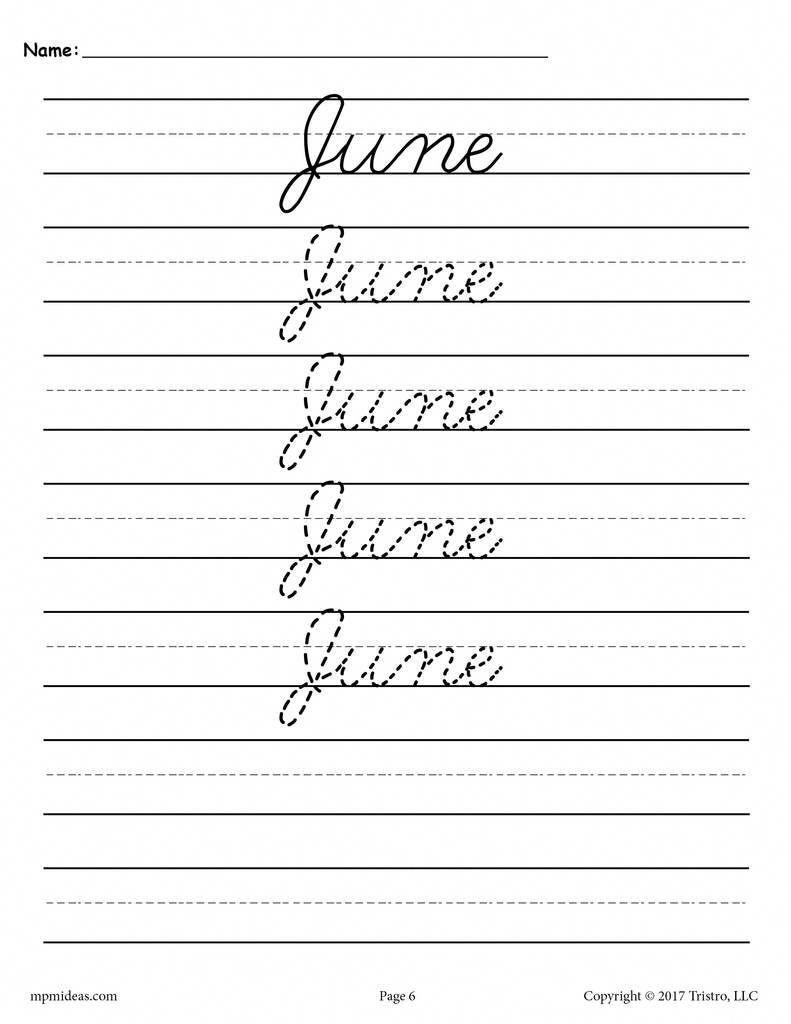 Words Free Packet Printable Cursive
