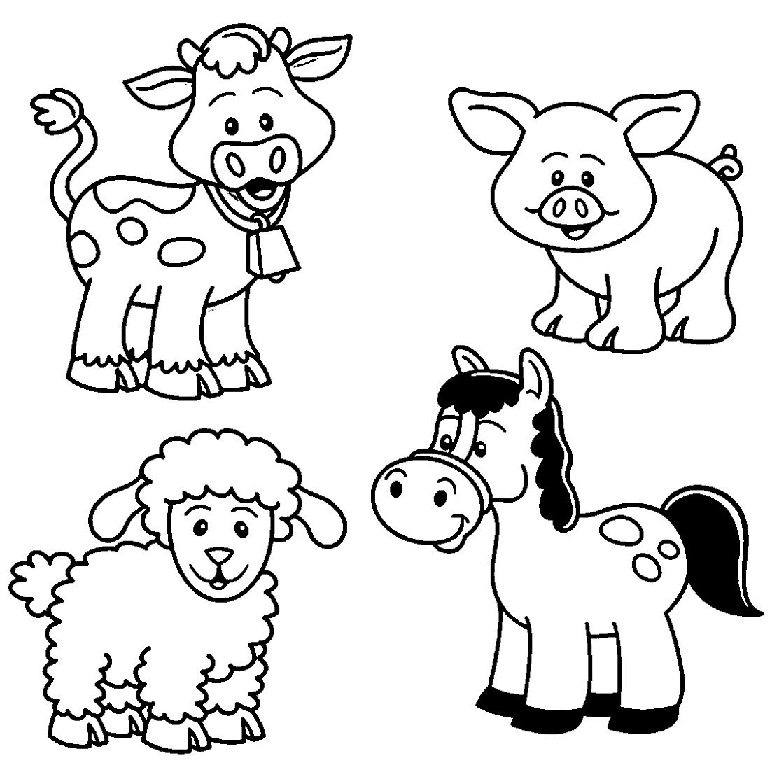 Printable Farm Animal Coloring For Kindergarten