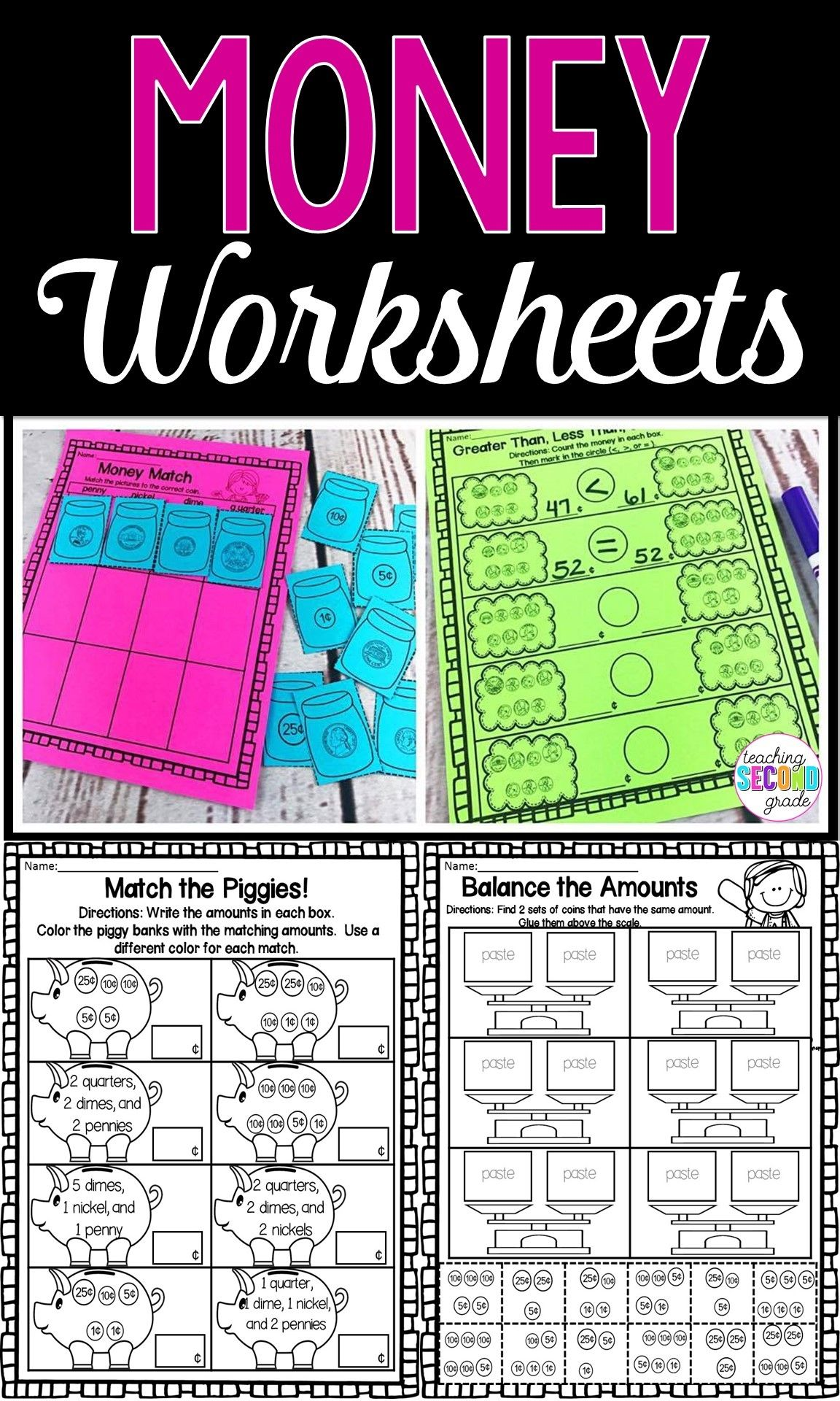 12 Best Counting Money Worksheets Cut And Paste Images On