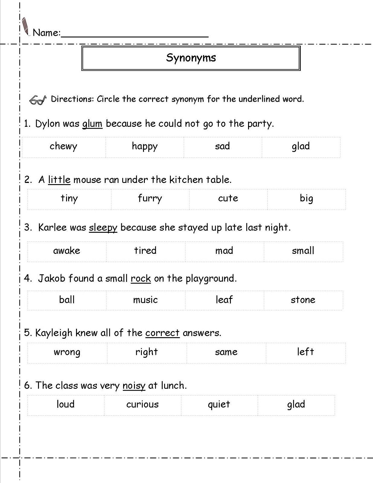 Second Grade Worksheets Synonym