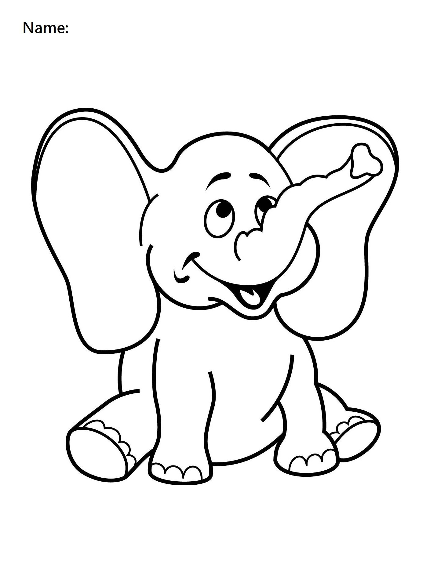 4 Year Old Worksheets Printable Coloring Elephant