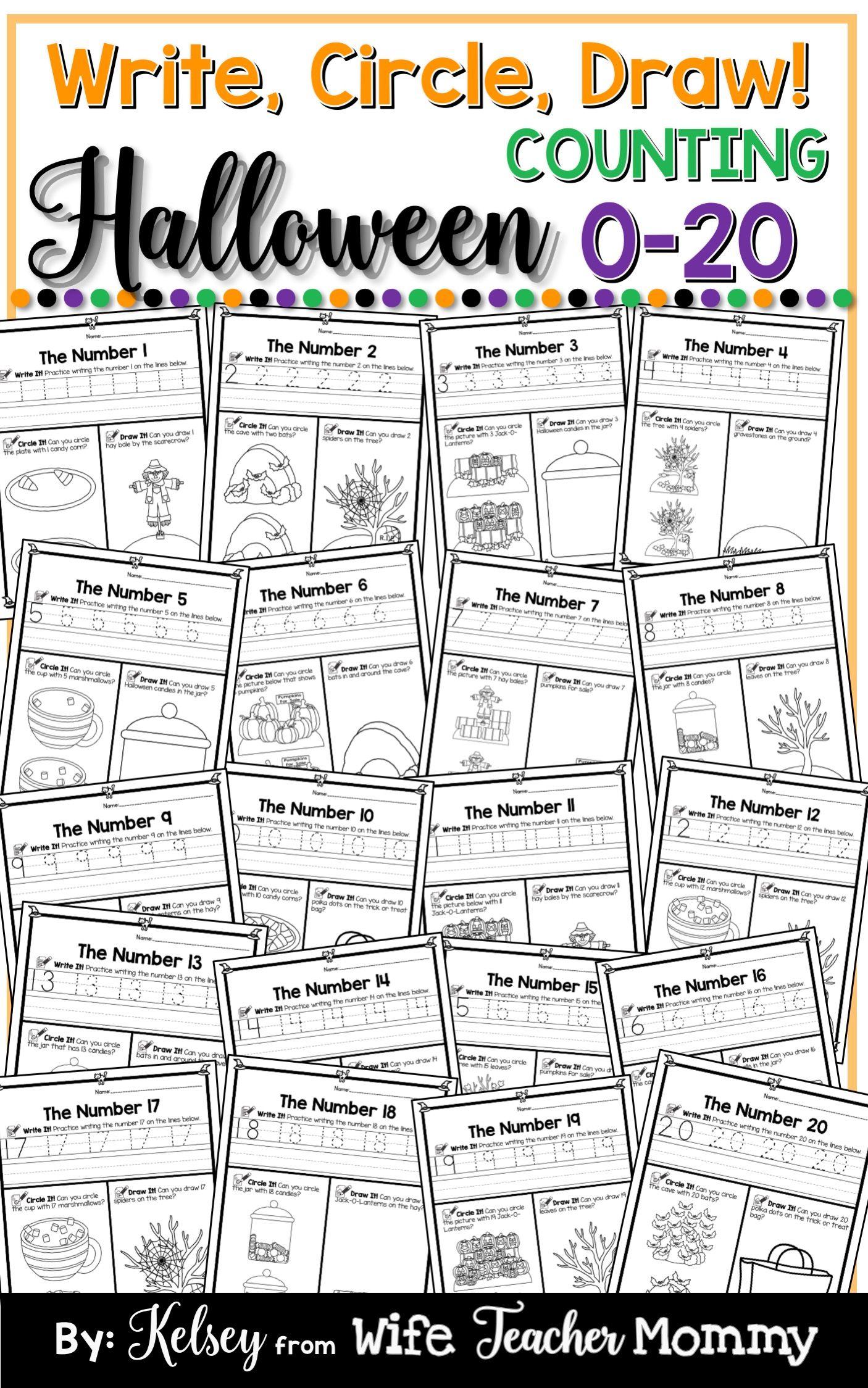 Halloween Number Worksheets 0 20 Counting Worksheets