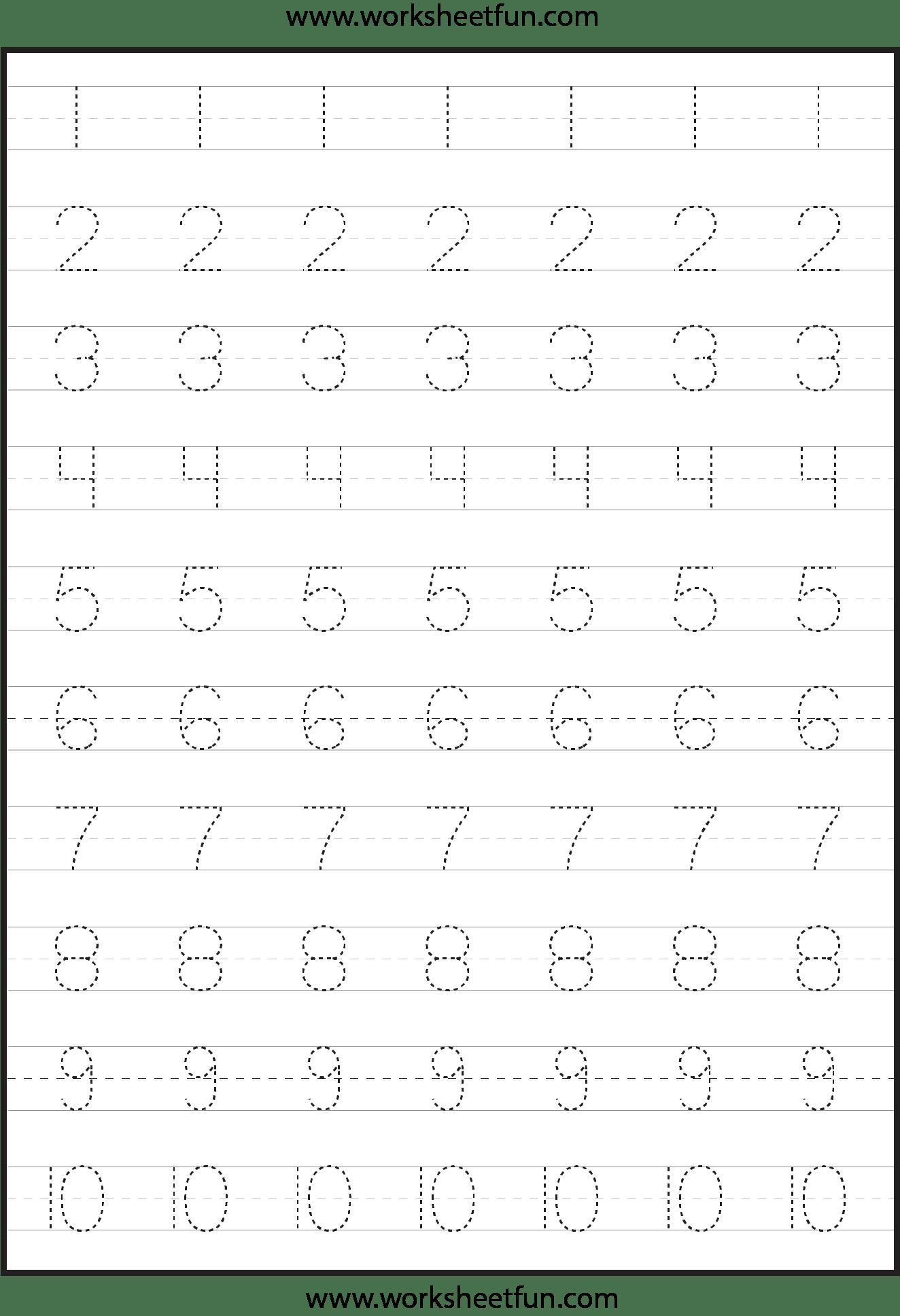 Number Tracing Worksheets For Kindergarten 1 10 Ten