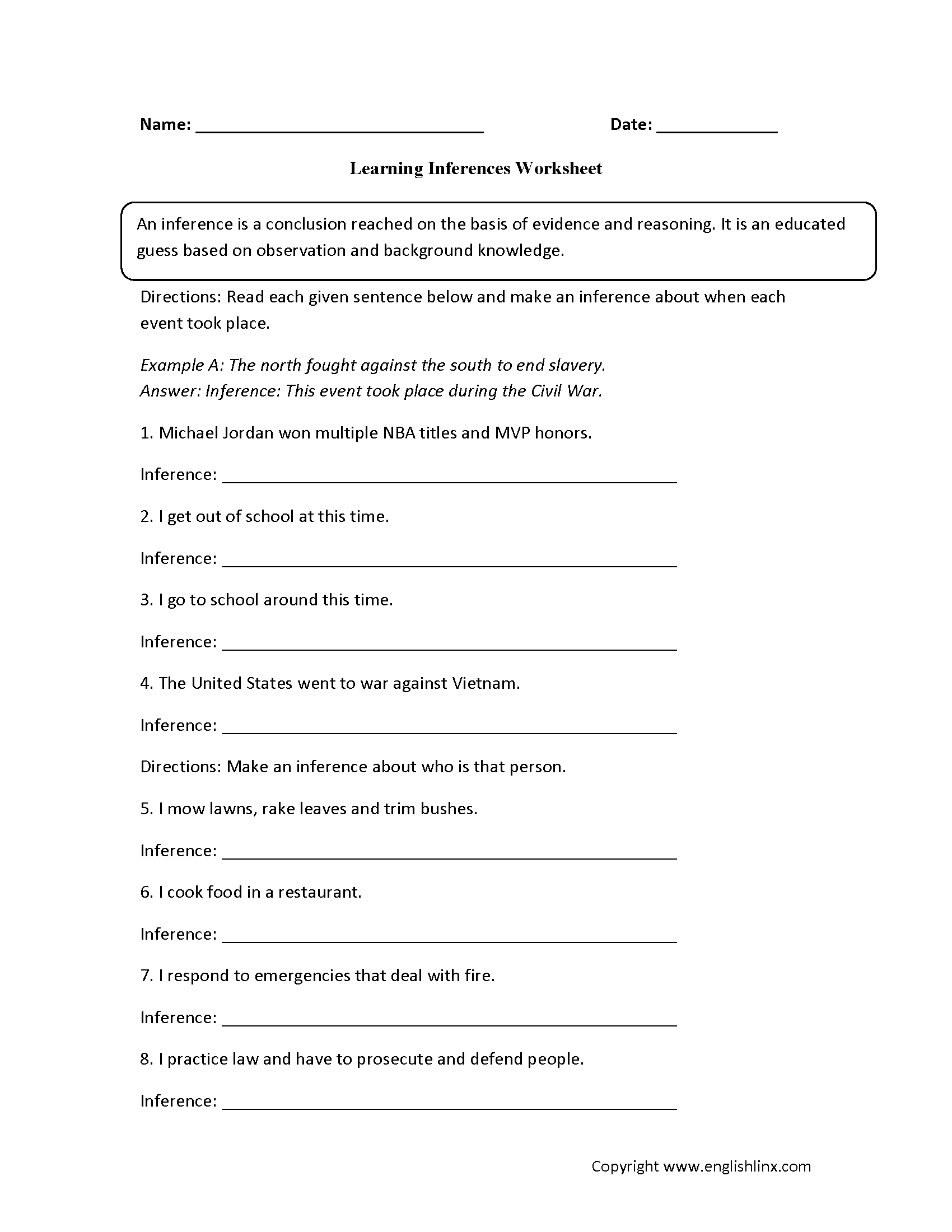 14 Best Images Of Making Inferences Worksheets 7th Grade
