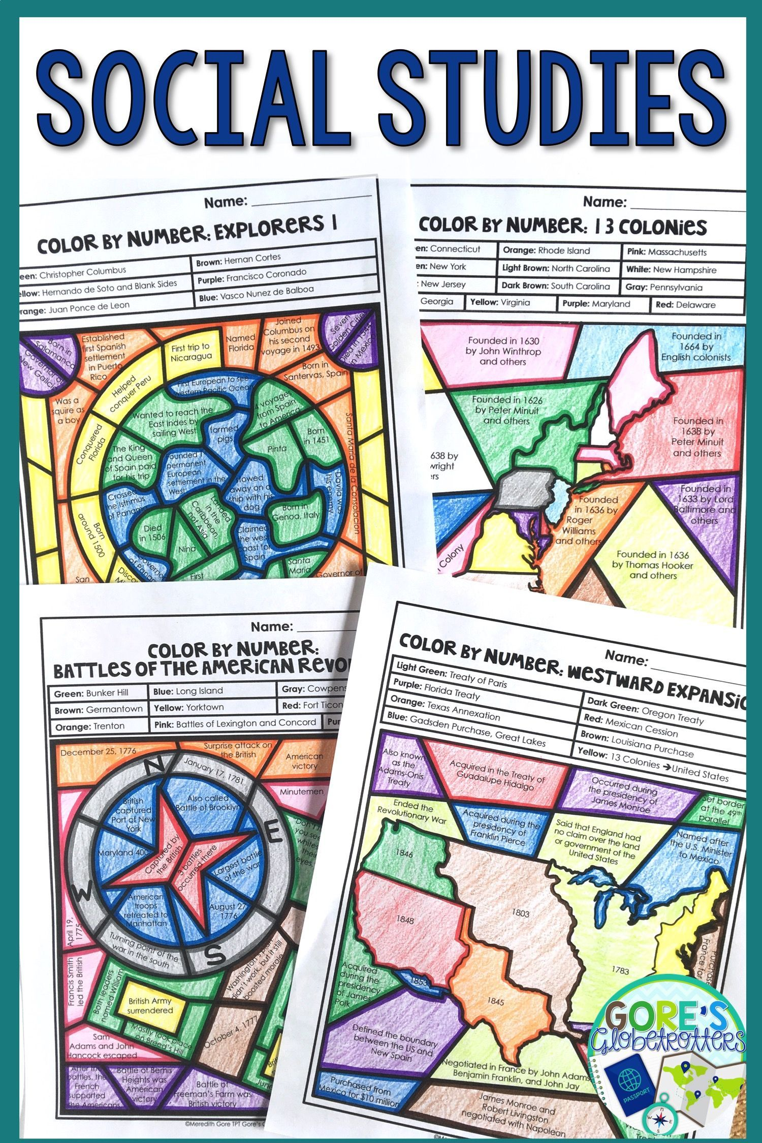 Social Stu S Worksheets Color By Number Bundle