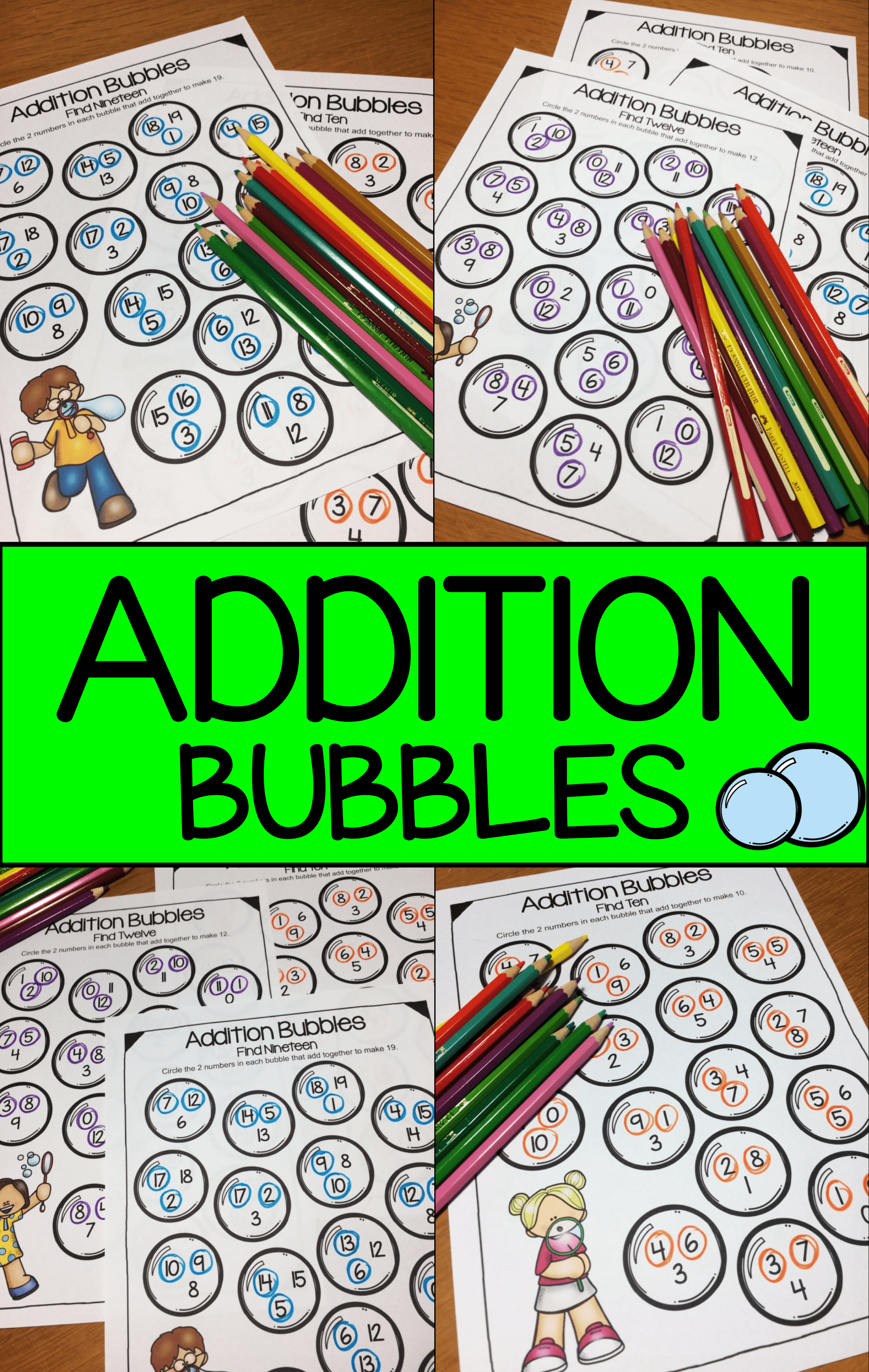 Addition Bubbles Addition Worksheets For Addition Facts