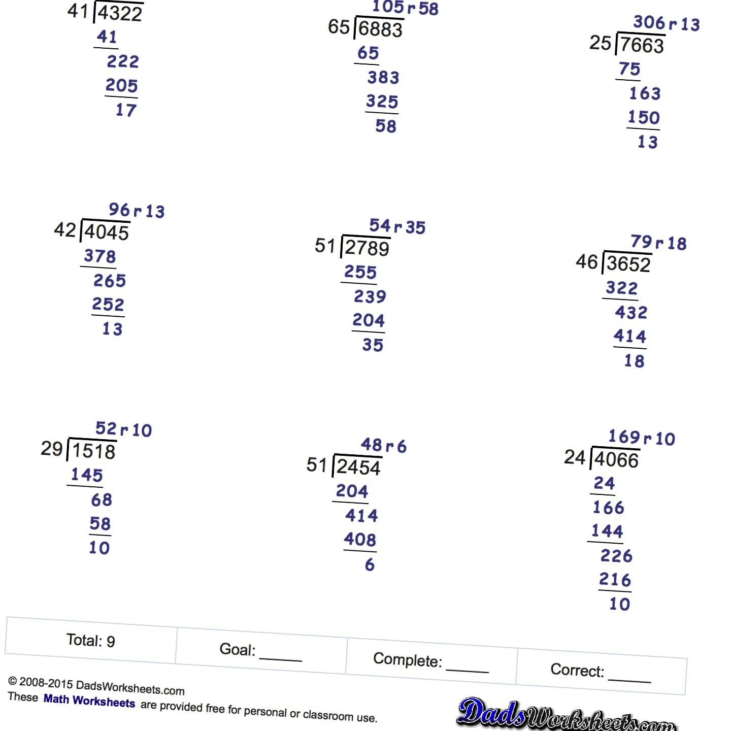 Free Long Division Worksheets No Remainders
