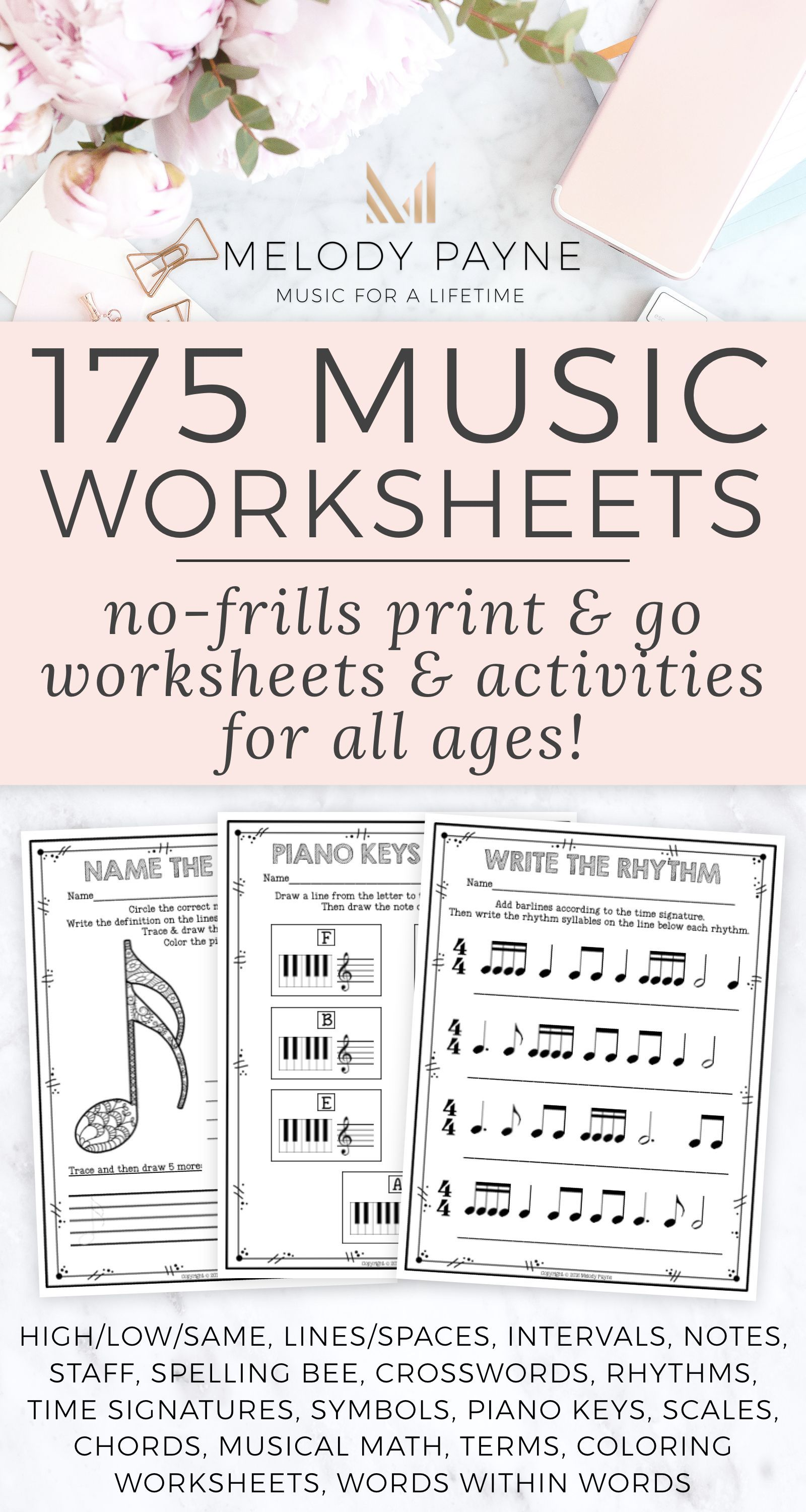 175 Printable No Frills Music Worksheets For Elementary On