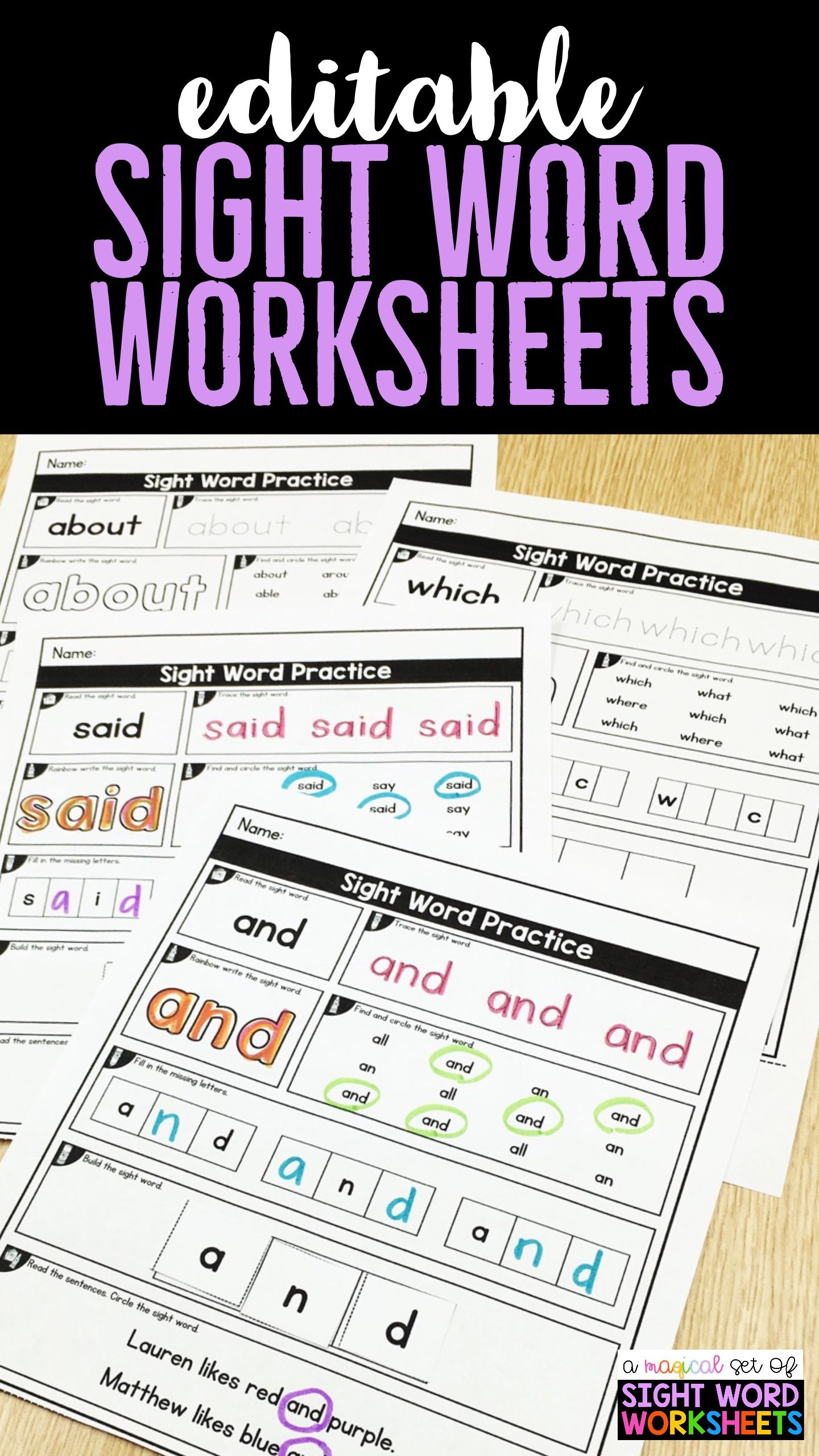 Sight Word Worksheets For Kindergarten First Grade On