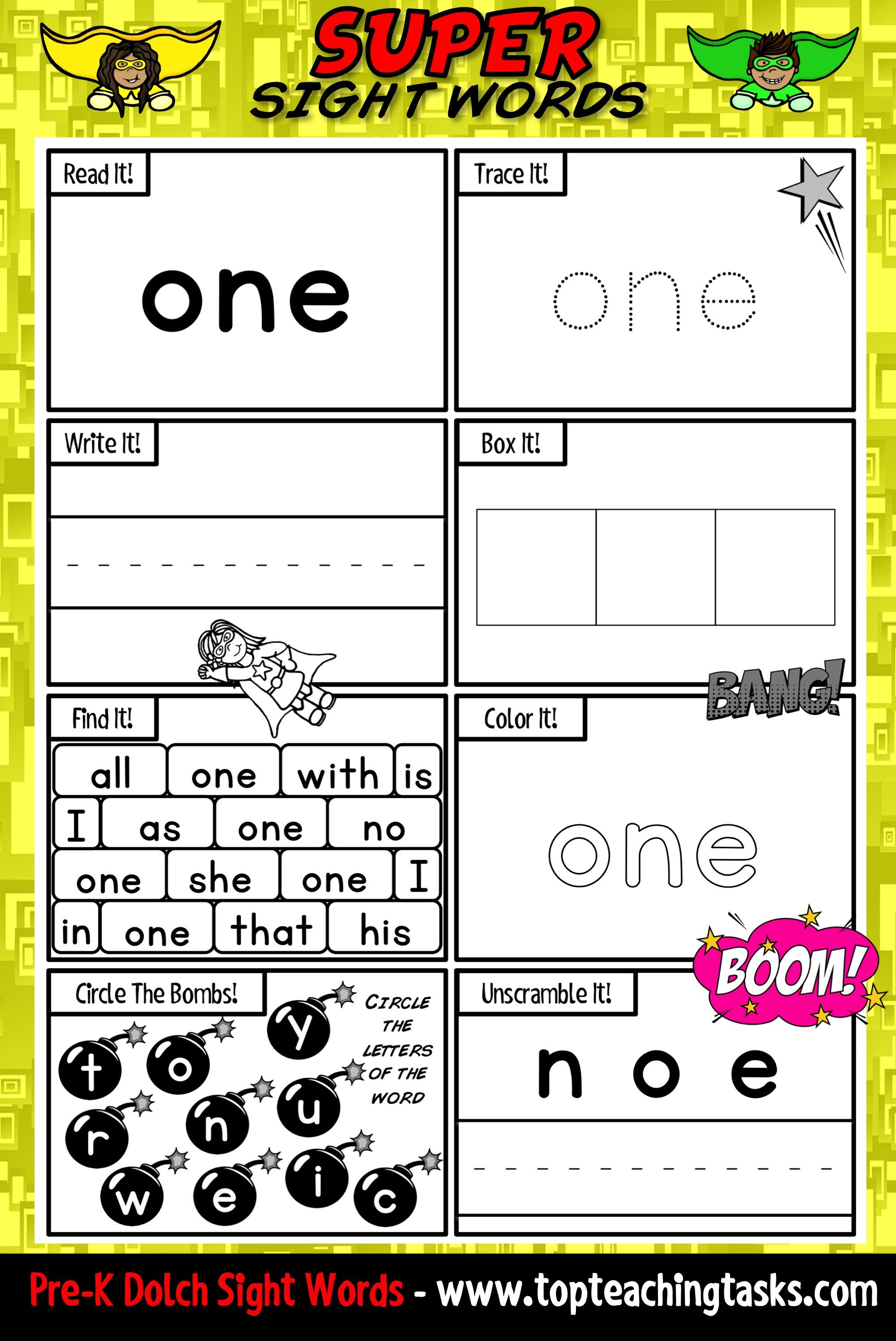 Pre K Sight Words Activity Worksheets Dolch