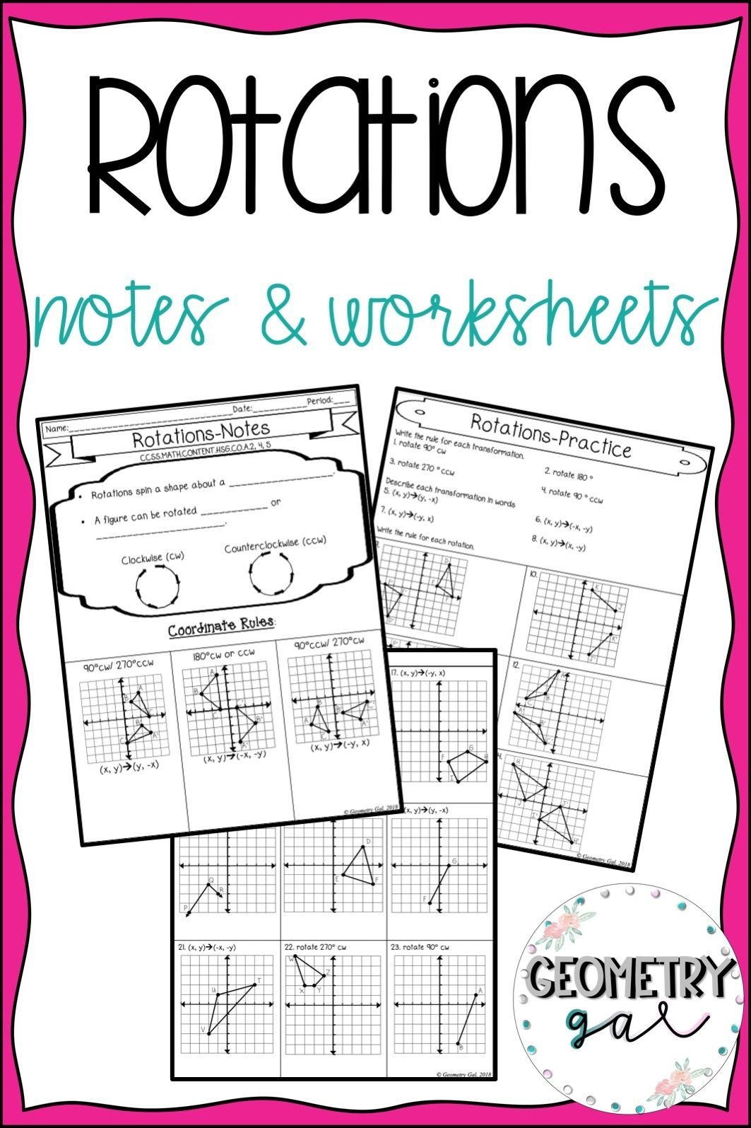 Rotations Notes And Worksheets Guided Notes With Fill In