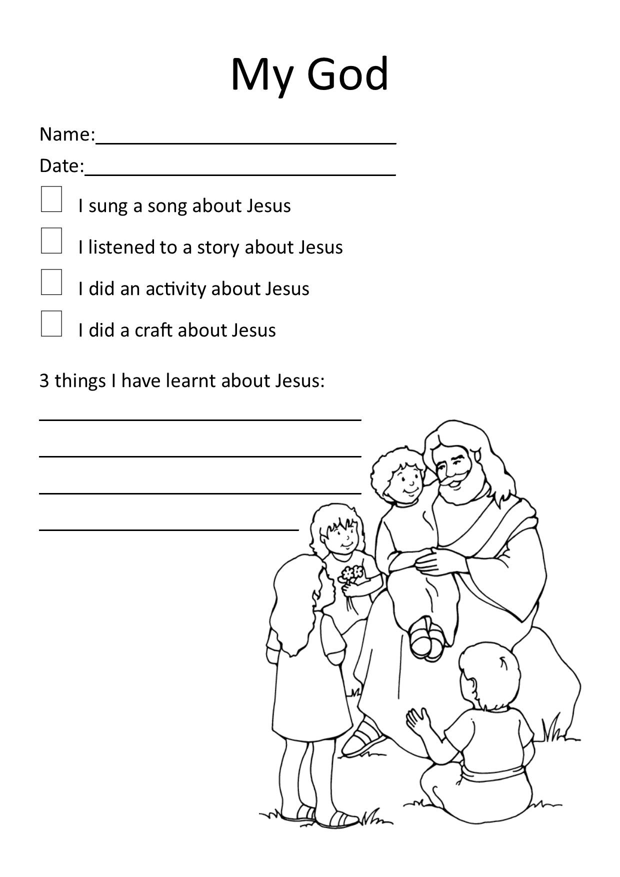 My God Worksheet