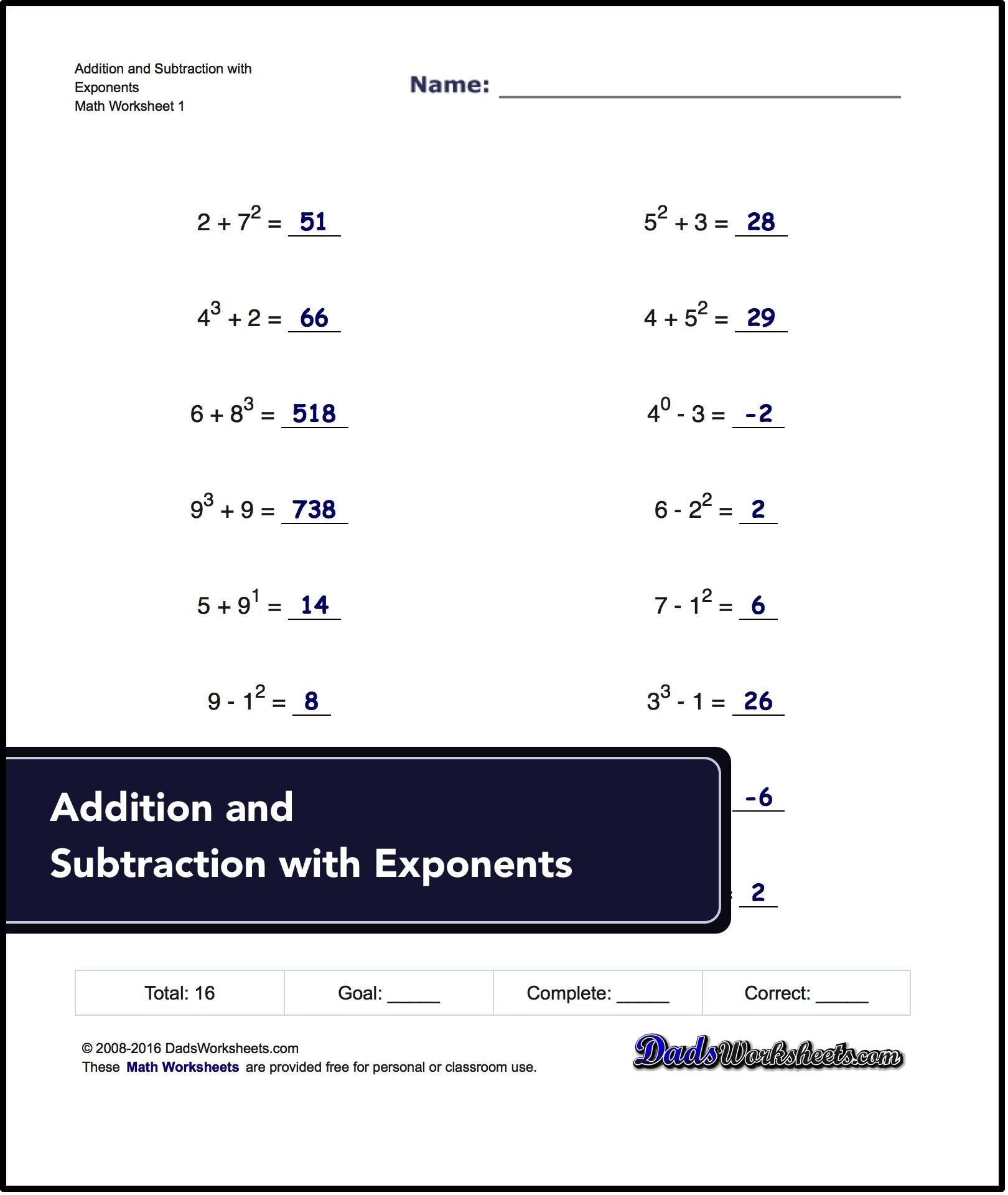 Free Math Worksheets For Exponents Problems Free On