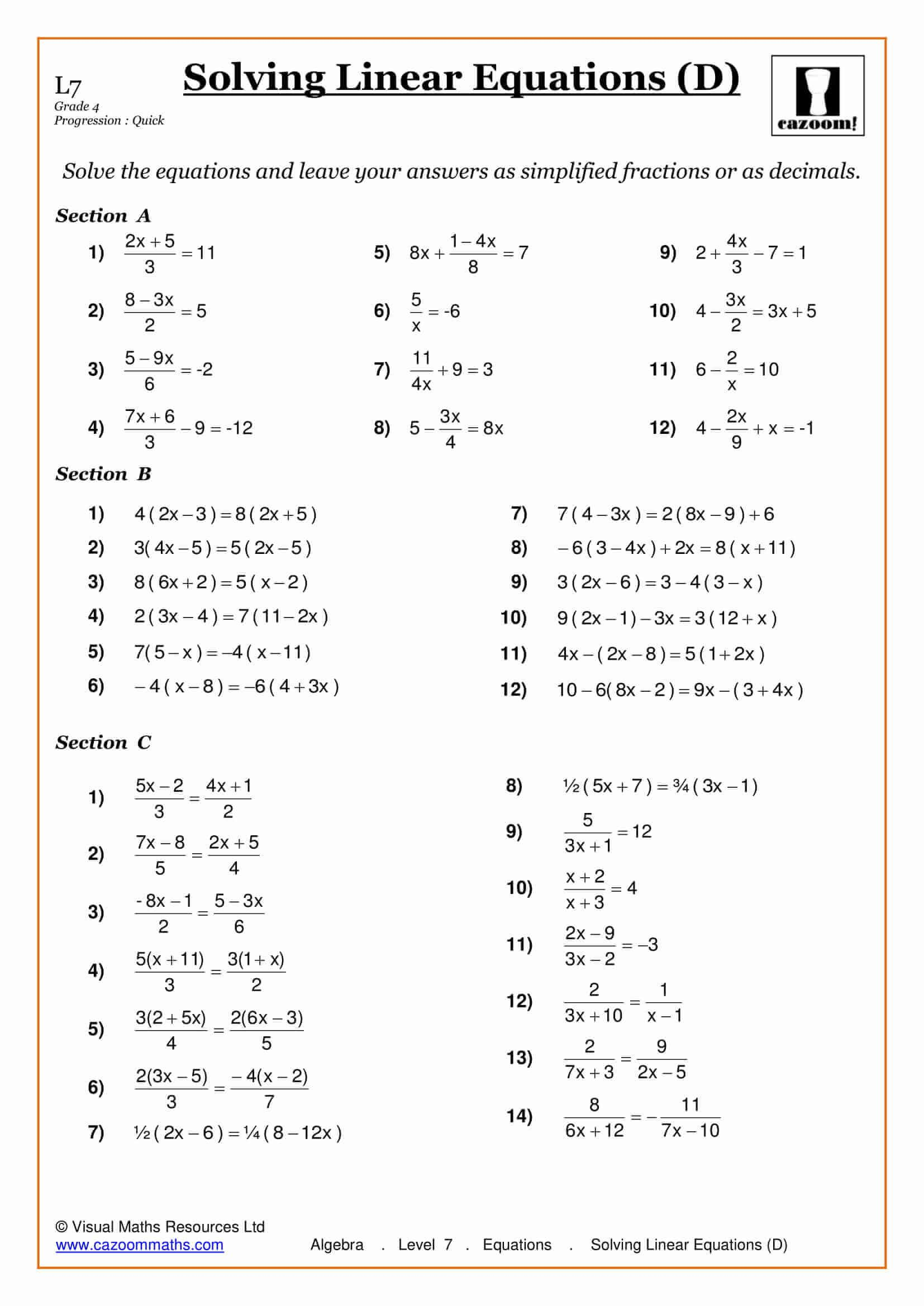 Linear Equations Worksheets Grade 8