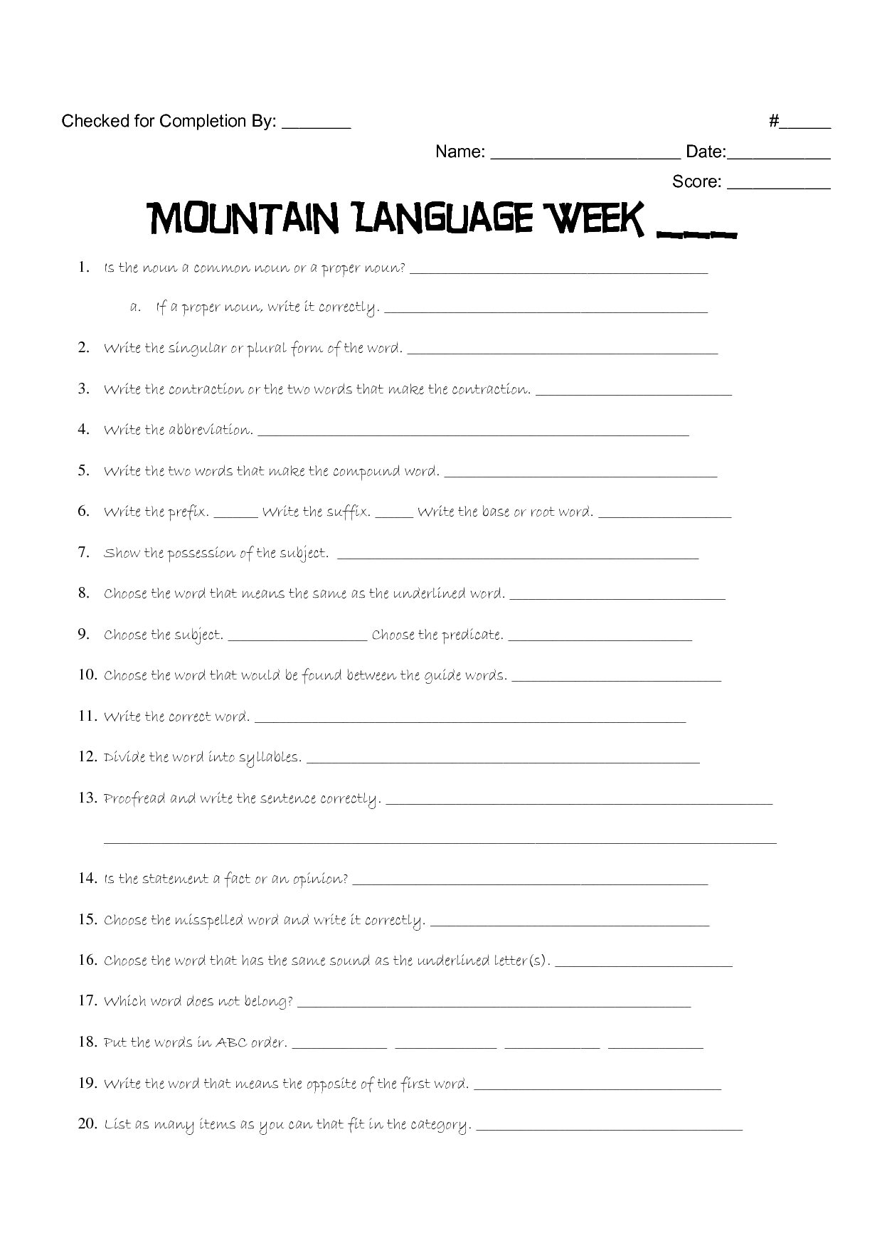 14 Best Printable Reading Worksheets 6th Grade Language
