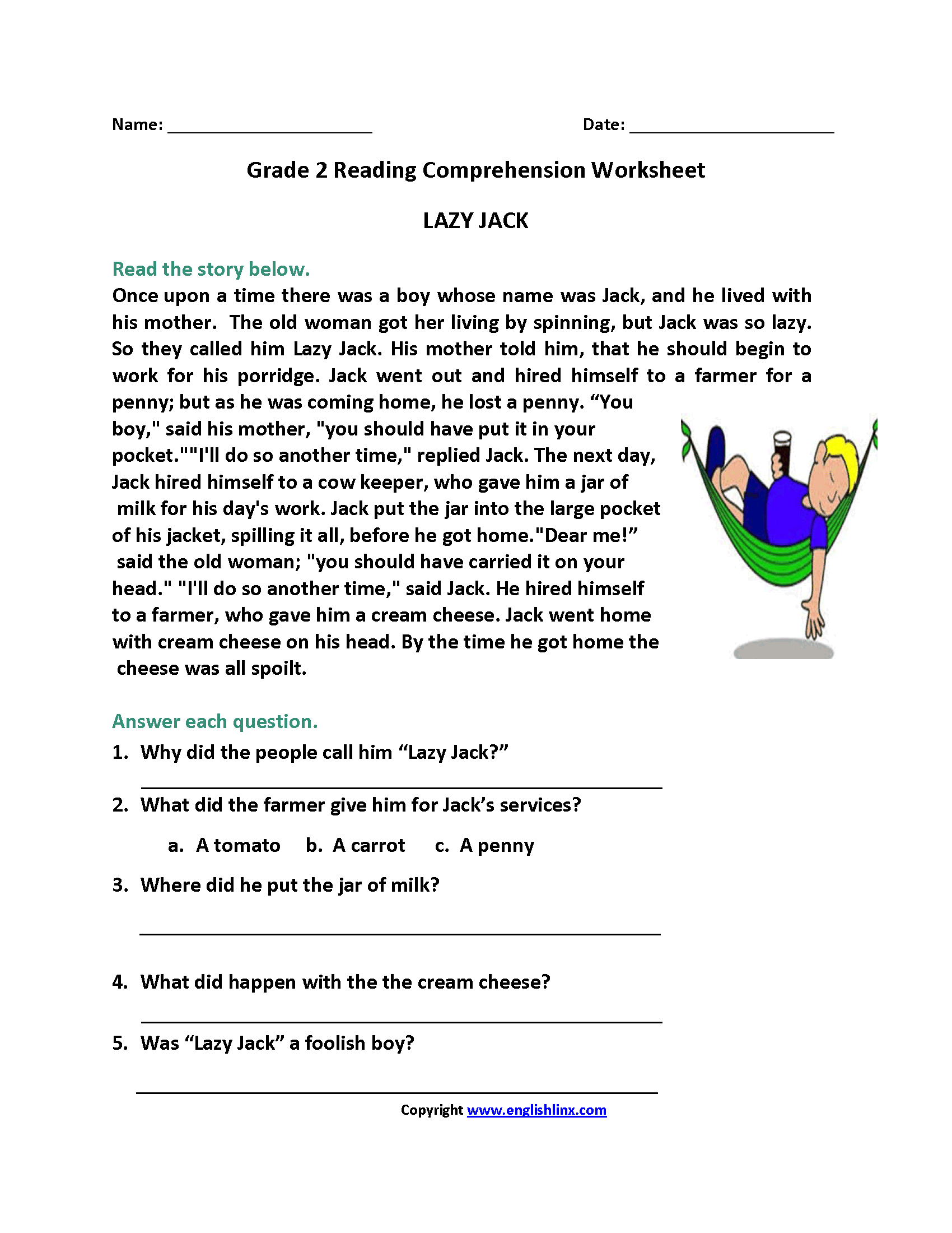 17 Best Printable Reading Worksheets With Questions Images