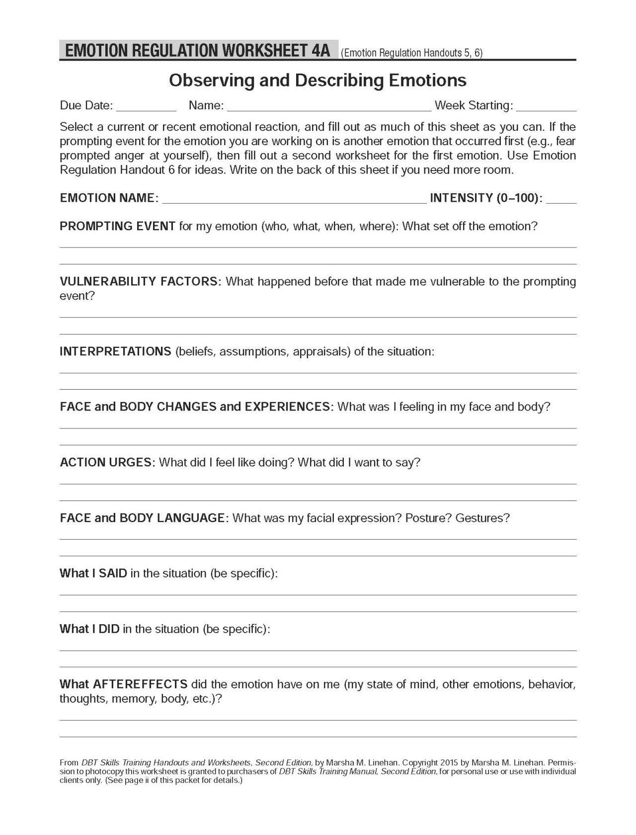 Dbt Values And Priorities Worksheet