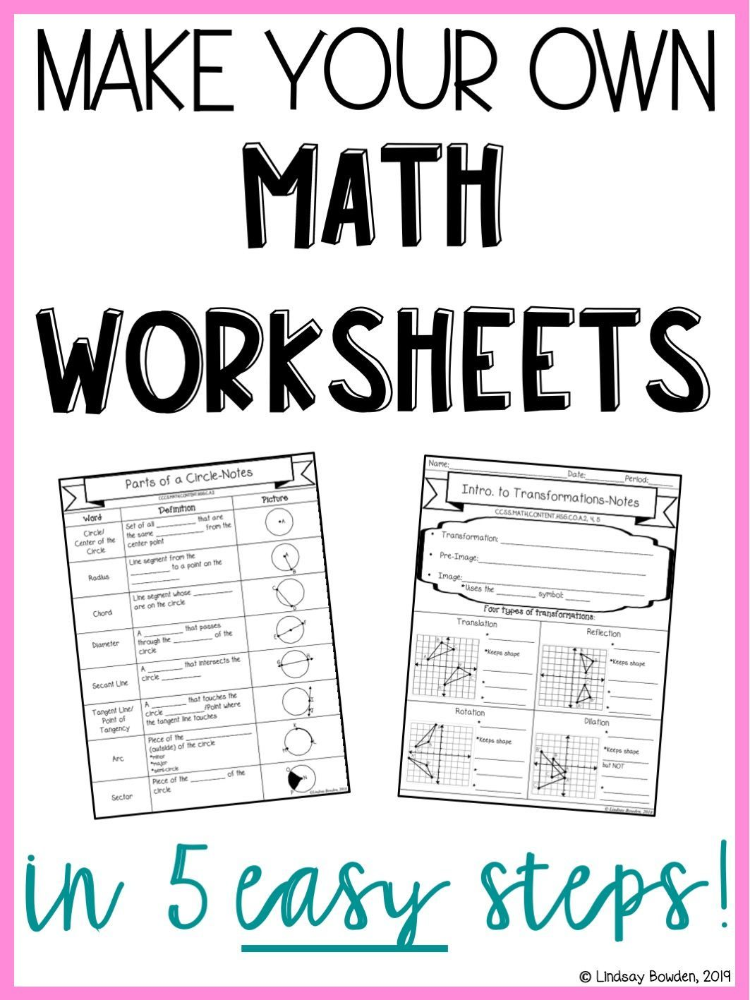Learn How To Make Your Own Math Worksheets Notes On Best