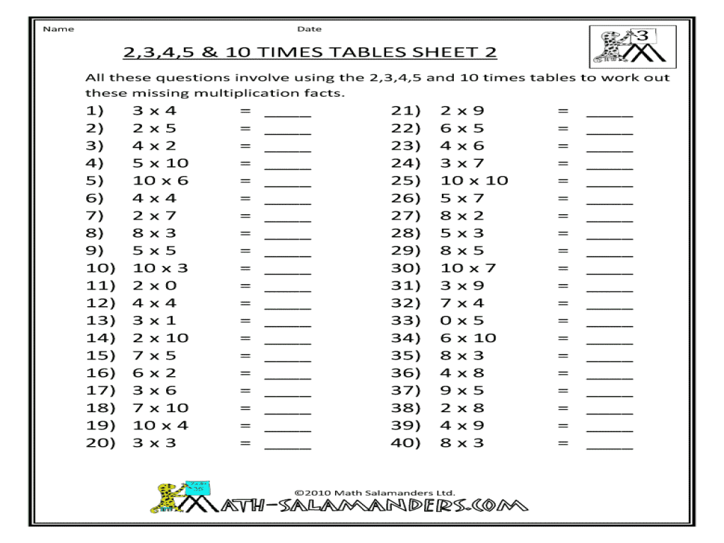 24 Best Multiplication Table Worksheets 4 Images On Best