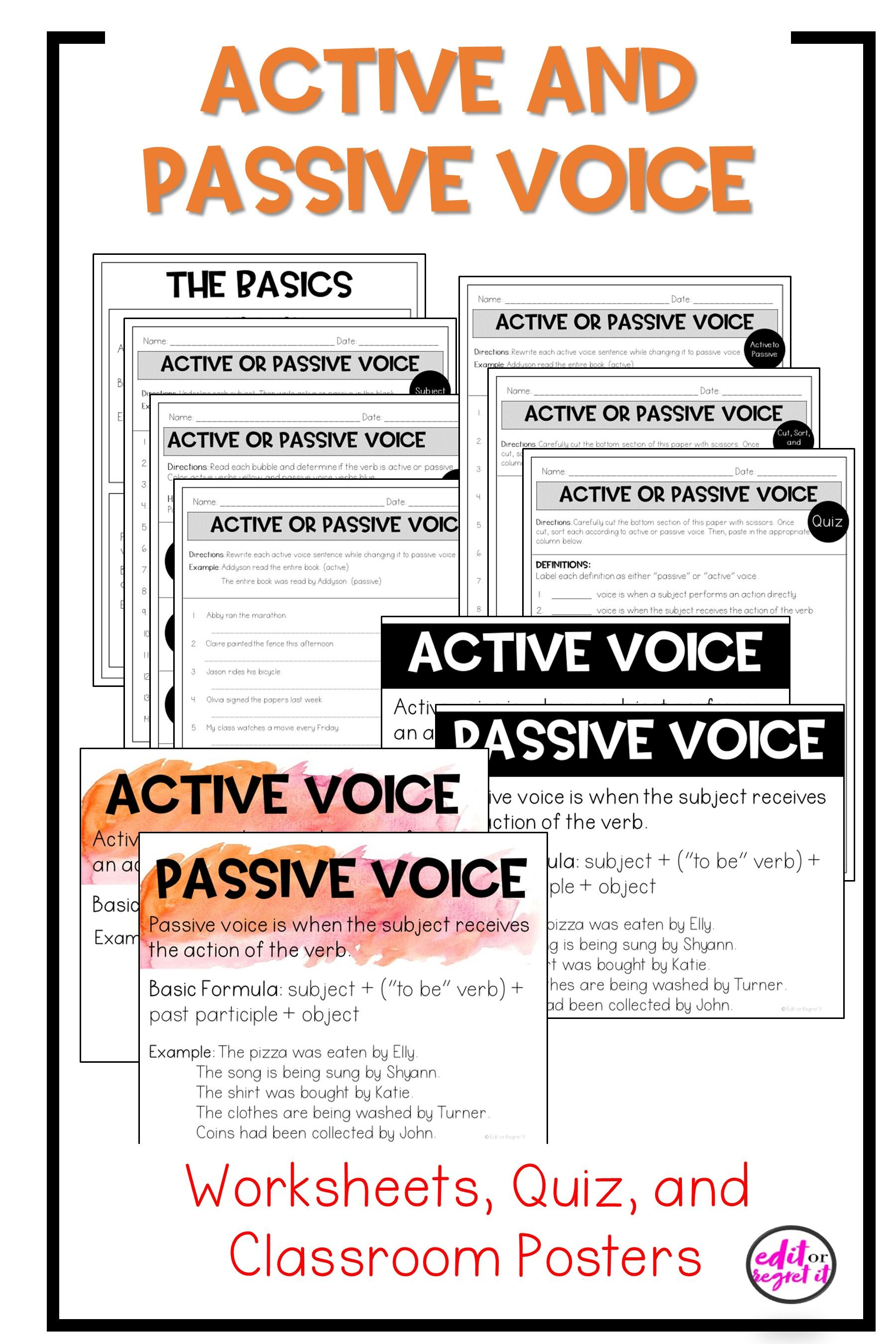 Active And Passive Voice Worksheets Quiz And Classroom