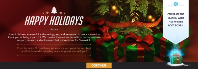 Overwatch in-game Five Winter Loot Box message | Blizzard Entertainment